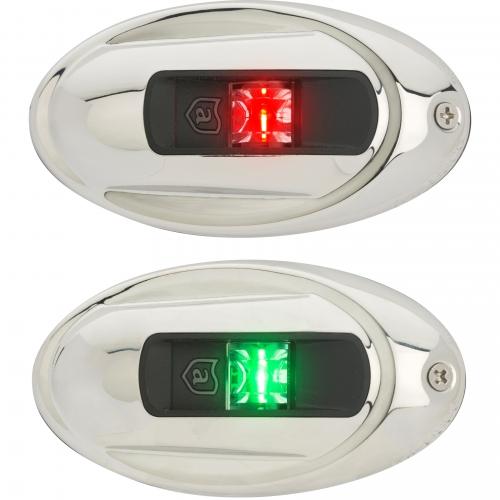 Навигационные огни Attwood LightArmor LED (красный и зеленый) нержавеющая сталь элипс
