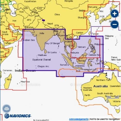 Карта Navionics Индийский океан и Южно-Китайское море