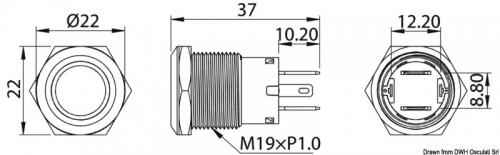 Выключатель Osculati FLAT из нержавеющей стали ON-OFF белый без фиксации