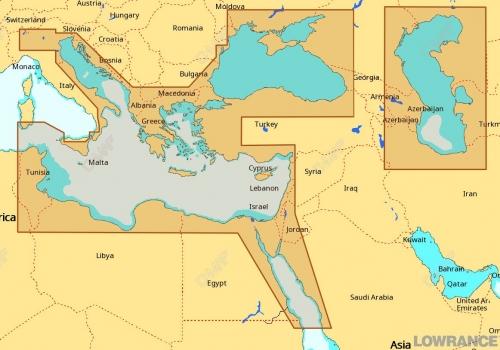 КАРТА C-MAP Восточная часть Средиземного моря, Черное и Каспийское моря