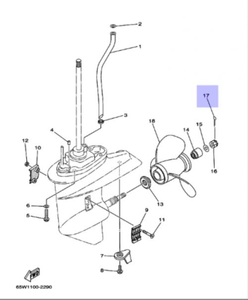 Шплинт-фиксатор гайки гребного винта Yamaha