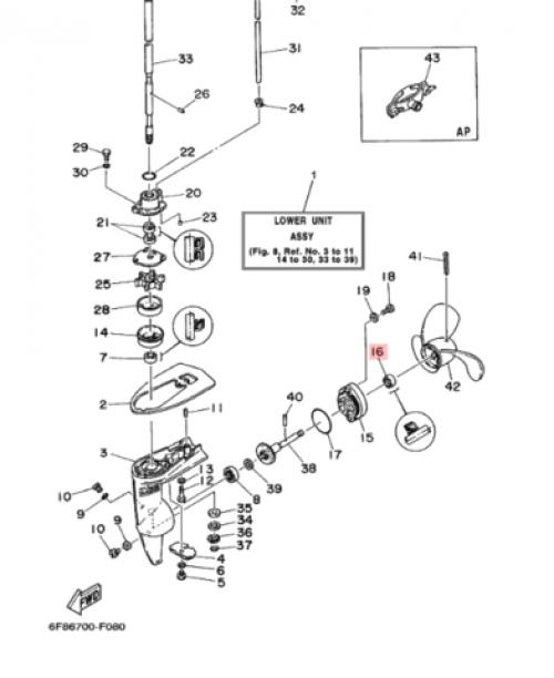 Прокладка слива редуктора ПЛМ Yamaha
