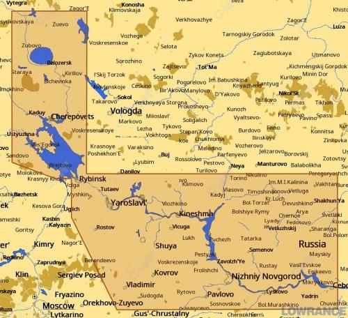 КАРТА C-MAP Река Волга от Рыбинского водохранилища (Рыбинское море) до Чебоксар